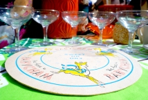 Large vintage babycham coaster with babycham glasses at Boscombe Vintage Market, April 2016.