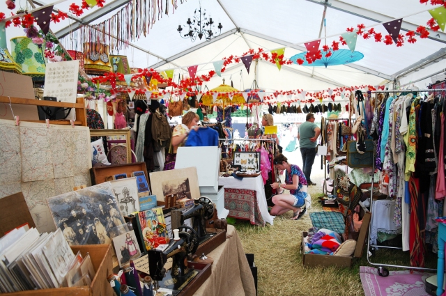 The vintage market tent at Larmer Tree Festival 2016.